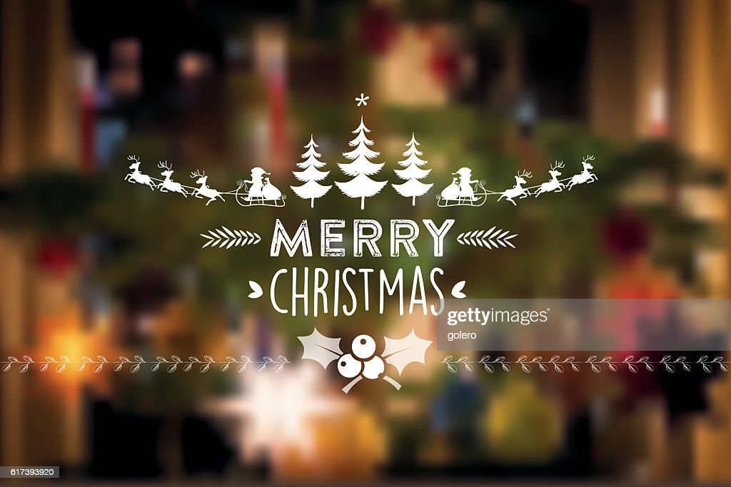 christmas vintage icon on blurred festive background