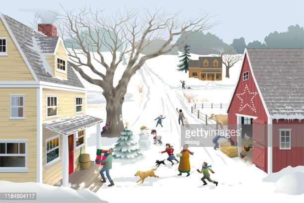 weihnachtsbesucher - nicht städtisches motiv stock-grafiken, -clipart, -cartoons und -symbole