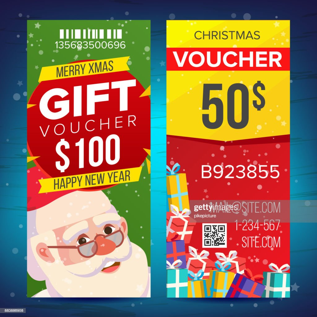 Christmas Voucher Template Vector Vertical Card Happy New Year Santa ...