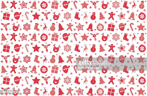 christmas wallpaper with red pastel colored icons vector vector id887706806?s=170667a