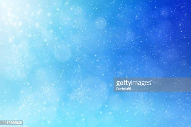 christmas - winter blue vector background: falling snow, snowflakes and defocused lights. - atmospheric mood stock illustrations