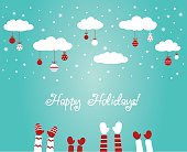 Christmas winter holiday illustration with many children hands raised up