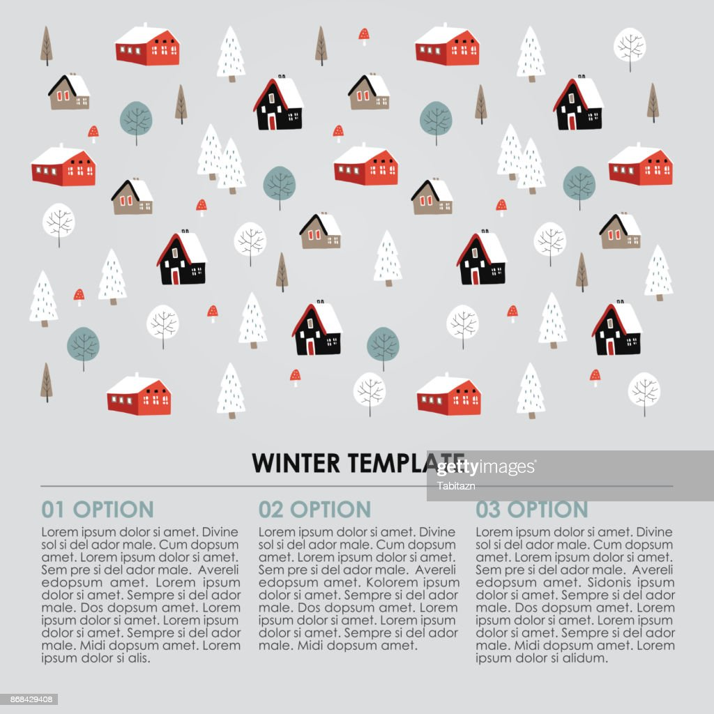 Christmas winter infographics template. Snowy landscape with hand drawn trees and houses. Vector illustration background