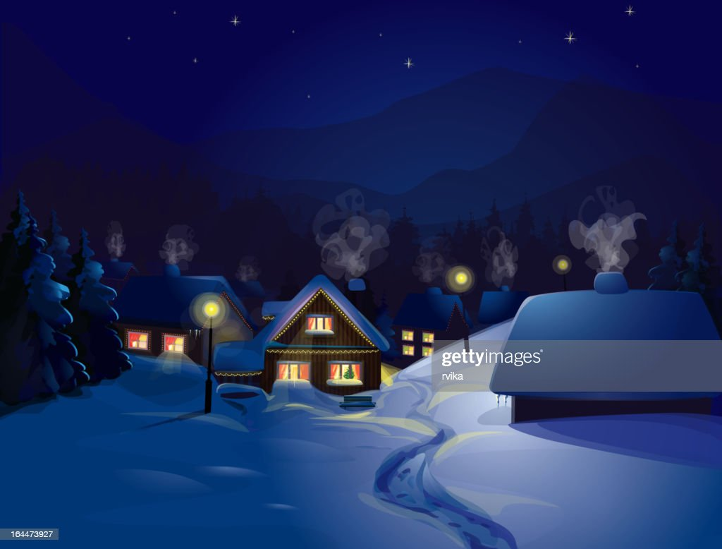 Christmas winter landscape of a house snow scene at night