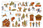 christmas winter people set, men women children family couple prepare for xmas celebration, choose buy decorate tree and house with lights, shopping walk pack presents