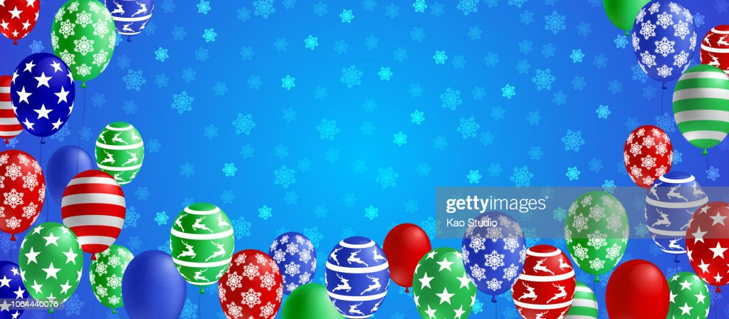 Christmas winter season banner with colorful balloon and snowflake on blue background. Christmas celebration concept vector illustration.