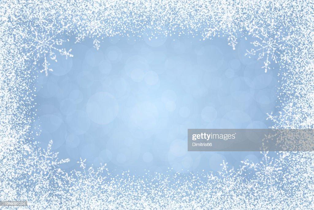 Christmas - Winter white frame on light blue background : stock illustration