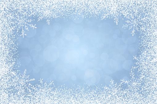Christmas - Winter white frame on light blue background - gettyimageskorea