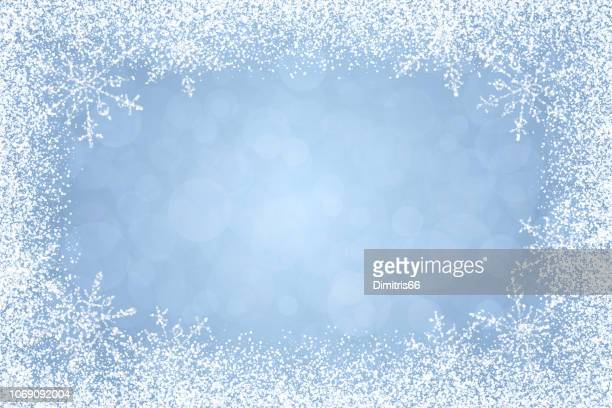 christmas - winter white frame on light blue background - ice stock illustrations