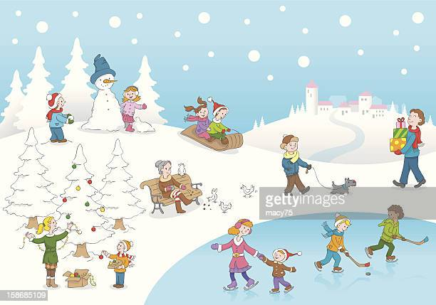 christmas winterscene kids playing snow - tobogganing stock illustrations, clip art, cartoons, & icons