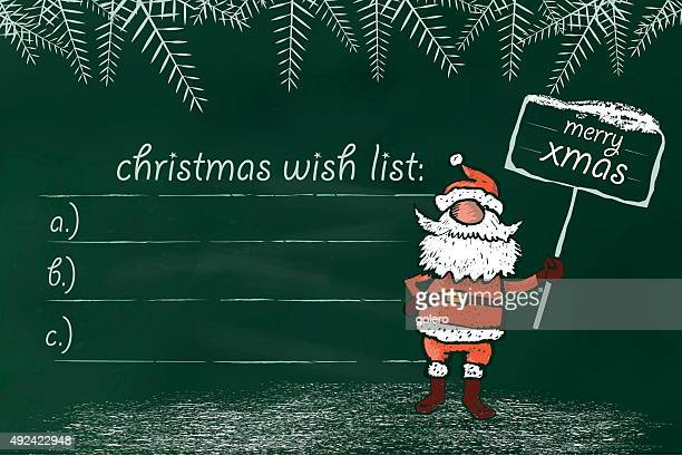 christmas wish list on chalkboard with santa claus with signboard - Christmas Slogans