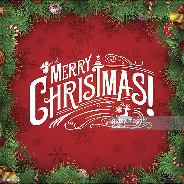 christmas wishes with wreath border - mistletoe stock illustrations, clip art, cartoons, & icons