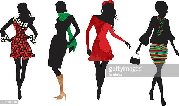christmas women silhouettes - fashion show stock illustrations