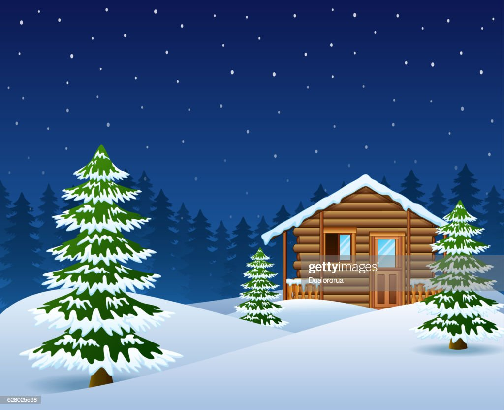 Christmas wooden house with fir trees