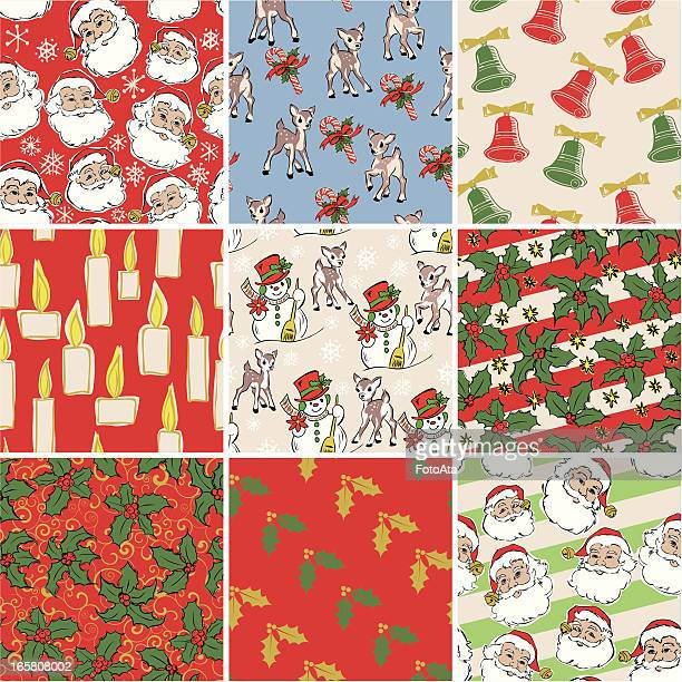 christmas wrapping paper - christmas paper stock illustrations