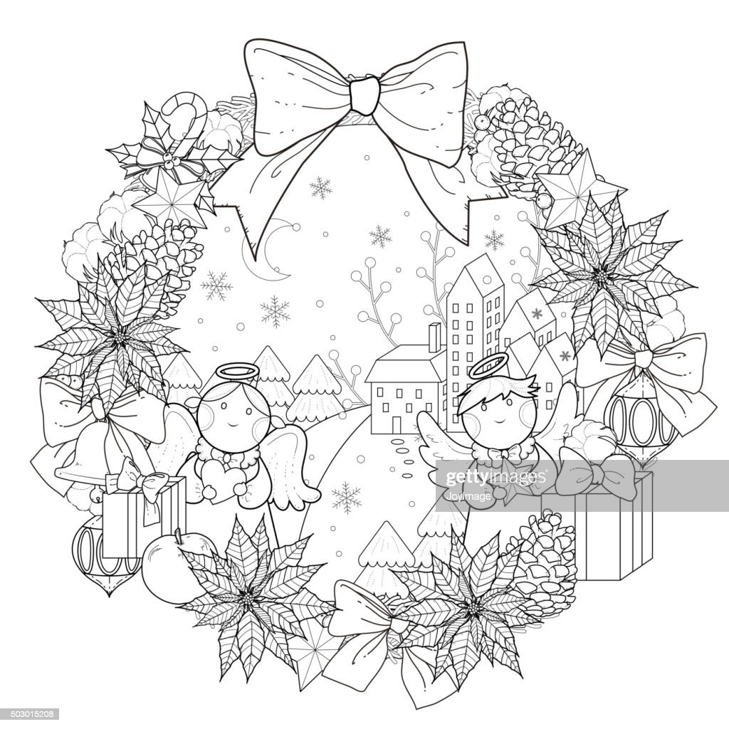 - Christmas Wreath Coloring Page High-Res Vector Graphic - Getty Images