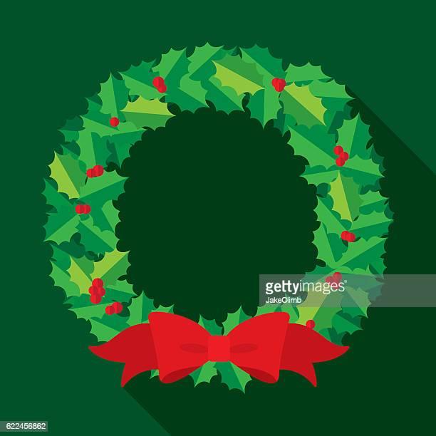 christmas wreath flat - wreath stock illustrations