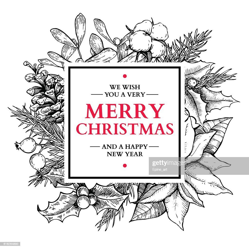 Christmas wreath frame. Vector hand drawn illustration with holl : Vector Art