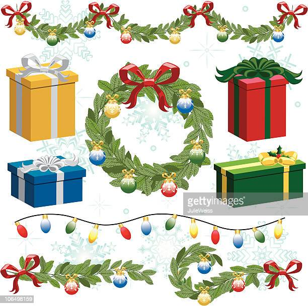 Christmas Wreath, Garland, Lights, & Presents (set)