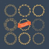Christmas wreath hand drawing set. Vector illustration