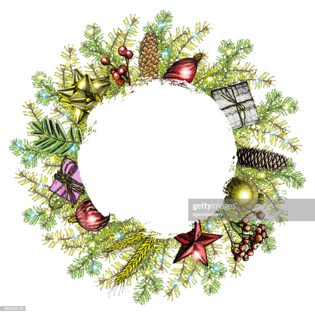 Christmas Wreath Hand Drawn Illustration With Fir Tree Branches ...