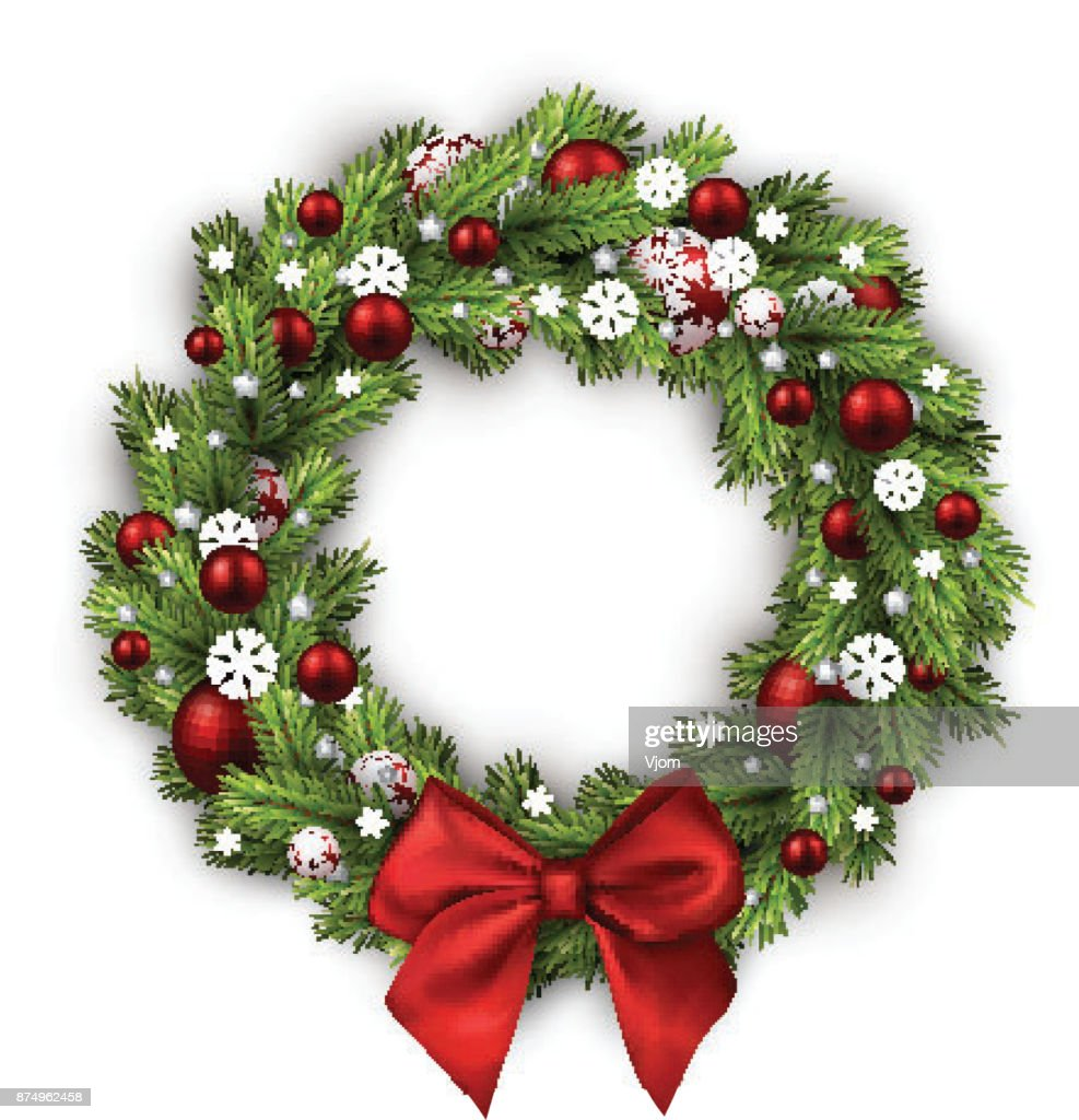 Christmas wreath isolated on white.