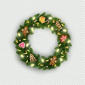 Christmas wreath of realistic Christmas tree branches, lightbulb, gifts, cookies, sweets