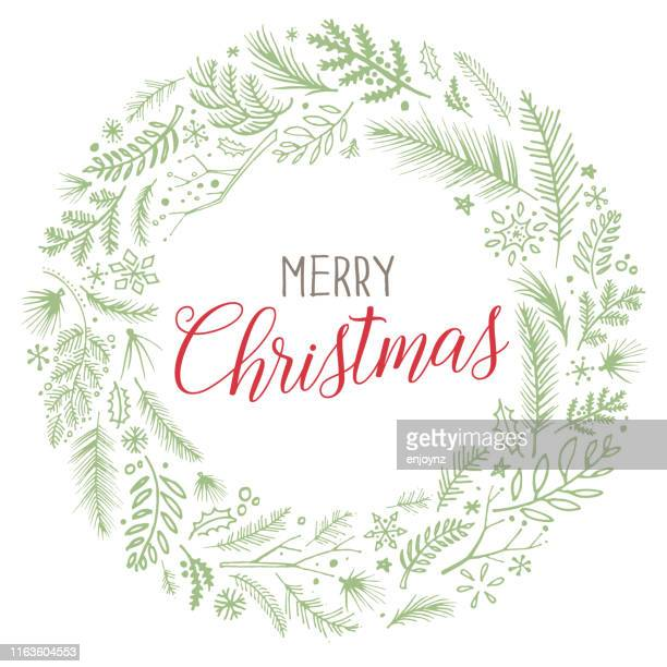 christmas wreath sketched vector - laurel wreath stock illustrations
