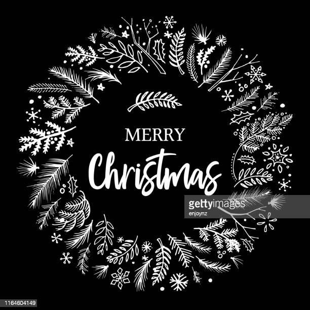 christmas wreath sketched vector - black and white stock illustrations