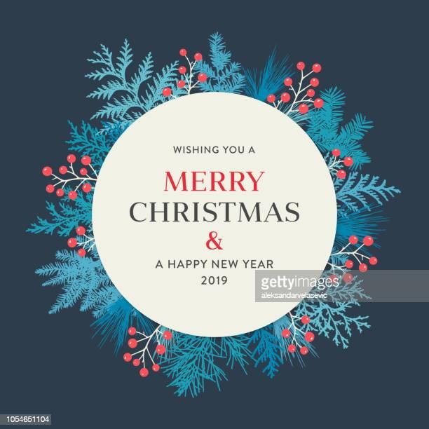 ilustraciones, imágenes clip art, dibujos animados e iconos de stock de guirnalda de la navidad - azul marino
