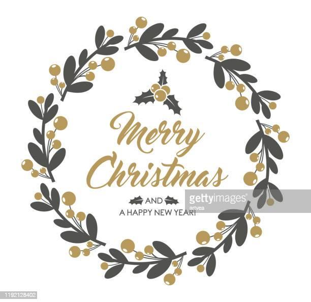 stockillustraties, clipart, cartoons en iconen met de kroon van kerstmis - tak plantdeel