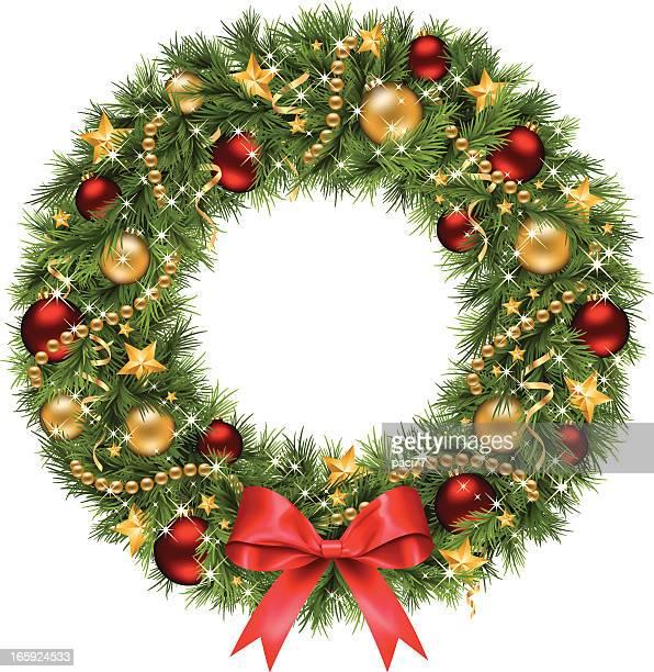 christmas wreath (vector) - christmas wreath stock illustrations