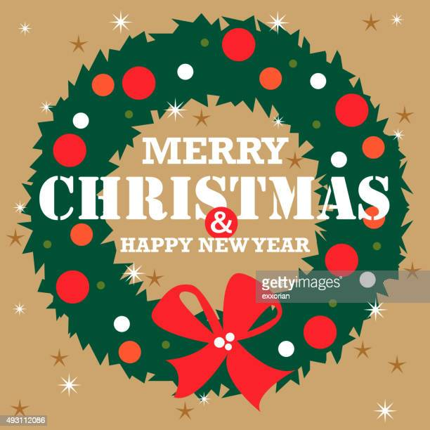 christmas wreath - laurel wreath stock illustrations
