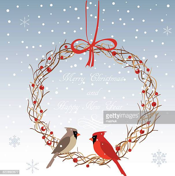 christmas wreath - cardinal bird stock illustrations, clip art, cartoons, & icons