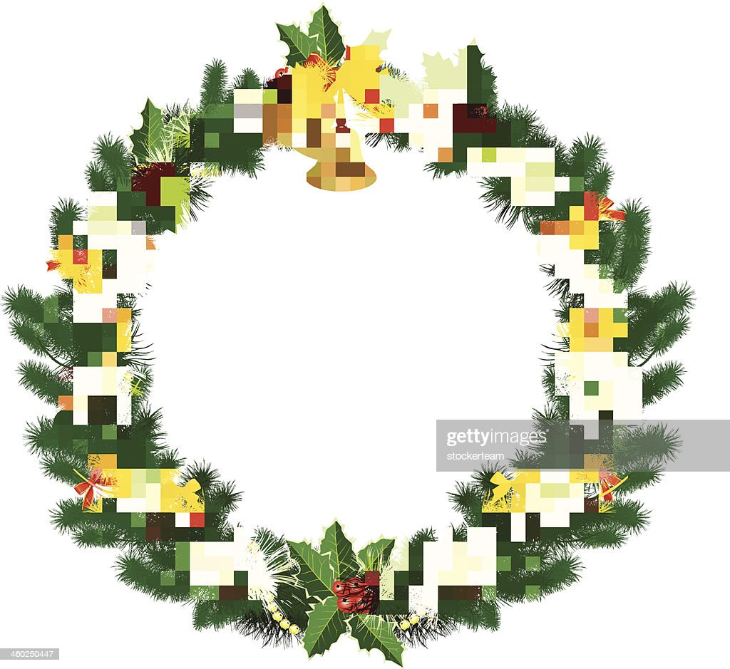 Christmas wreath with baubles and fir tree