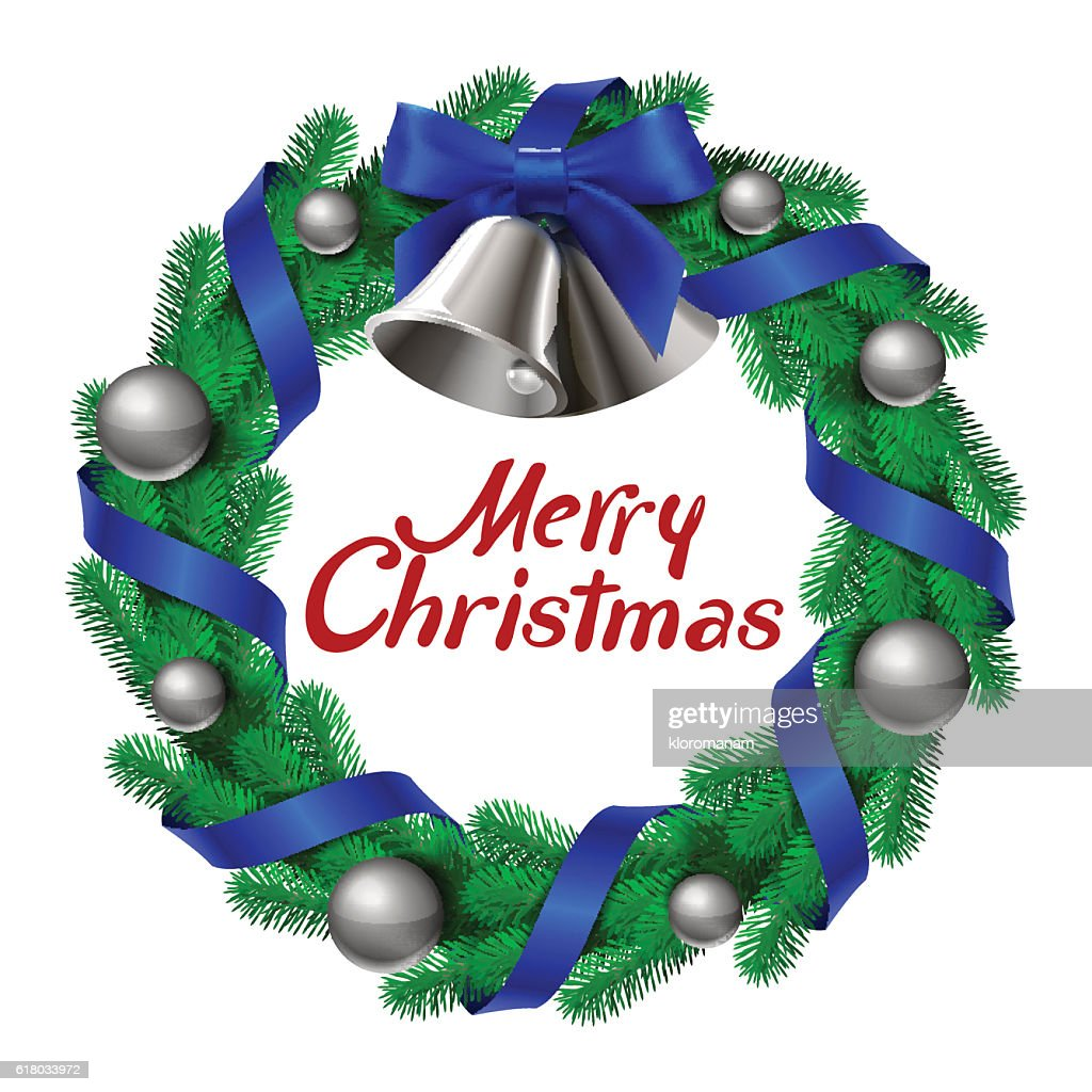 Christmas wreath with bells ribbons and balls