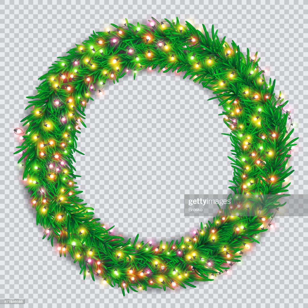 Christmas Wreath With Colourful Glowing Garlands On Transparent Background Vector Art