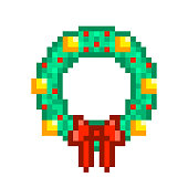 Christmas wreath with golden balls and red ribbon bow, pixel art icon isolated on white background. Winter holiday card decoration. Fir tree garland. Retro old school 8 bit 80s-90s video game graphics