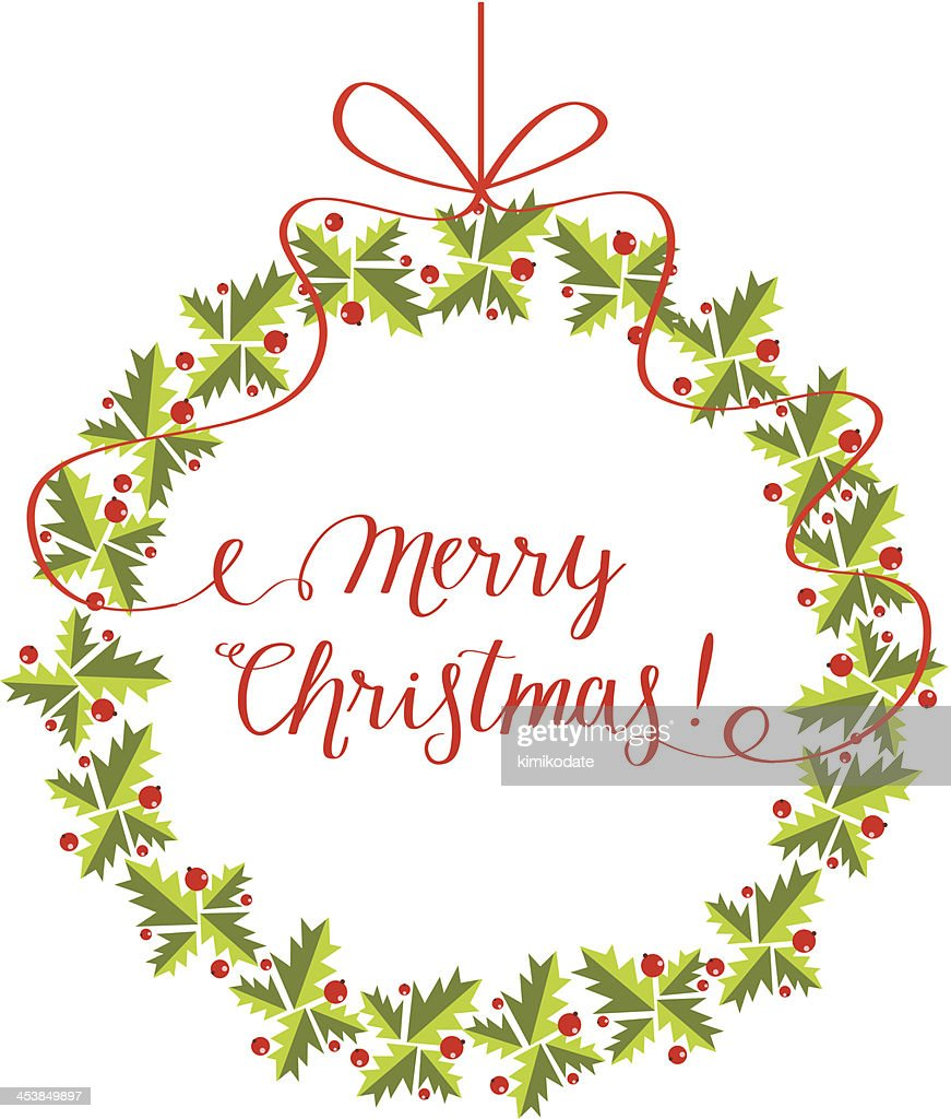 Christmas wreath with lettering : Stock Illustration