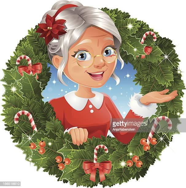 illustrazioni stock, clip art, cartoni animati e icone di tendenza di corona di natale con mamma natale - mamma natale