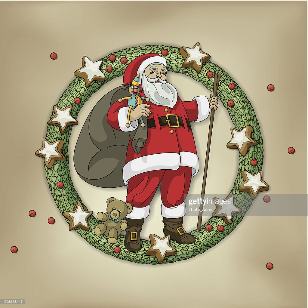 Christmas wreath with Santa Clause, bag, toys and cookies : Vector Art