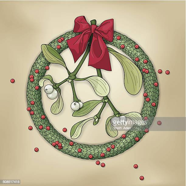 christmas wreath with sprig of mistletoe and red bow - mistletoe stock illustrations, clip art, cartoons, & icons