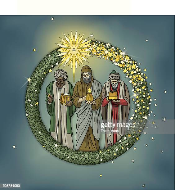 christmas wreath with three wise men and star of beethlehem - three wise men stock illustrations, clip art, cartoons, & icons