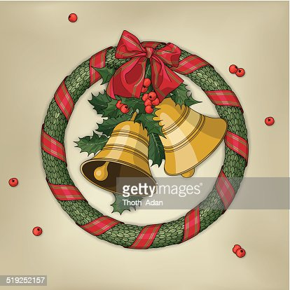 christmas wreath with two bells holly red ribbon and bow vector art getty images - Horseshoe Christmas Wreath