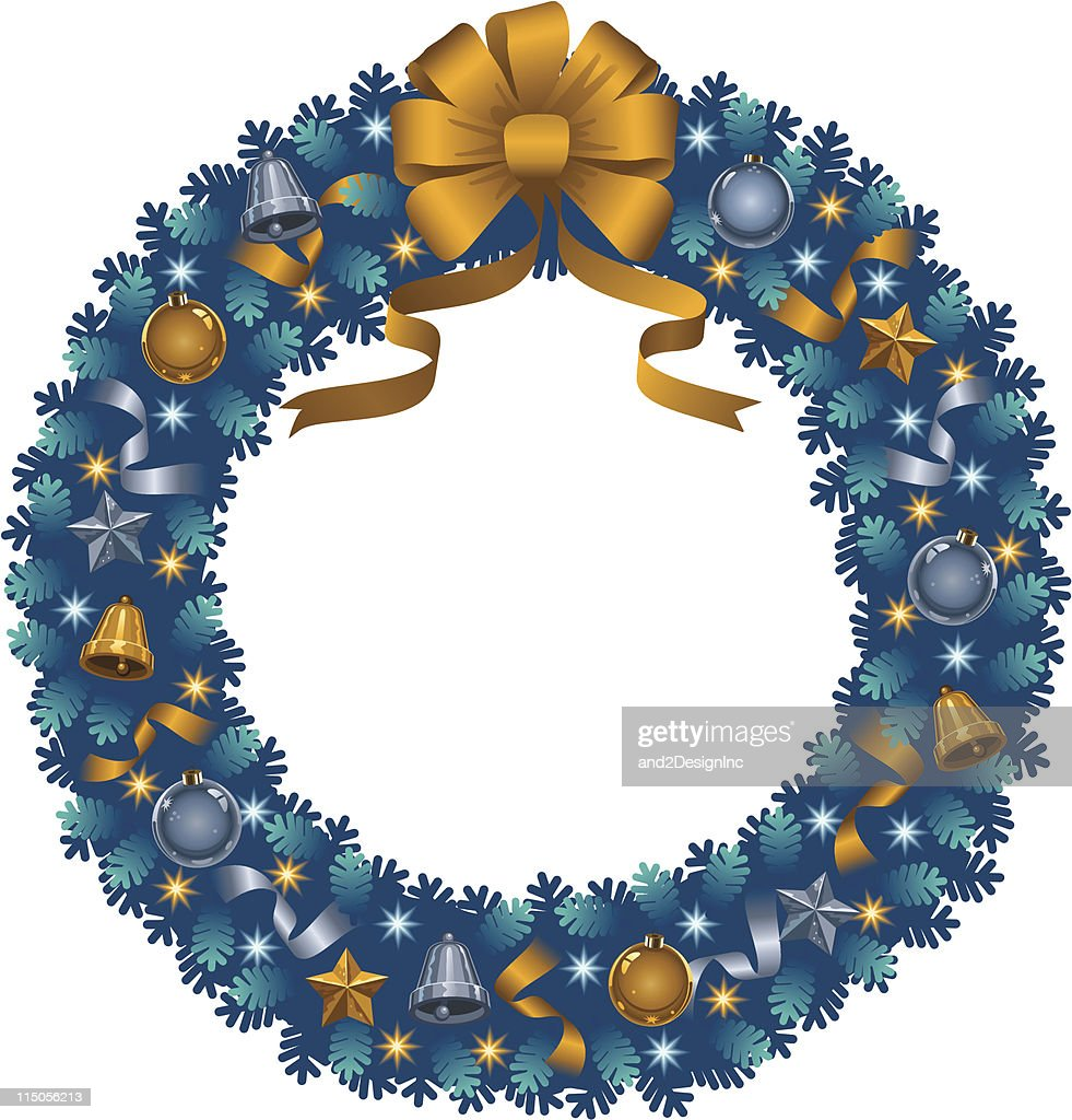 Christmas wreath/silver and gold