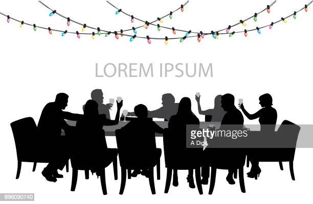 christmaspartytable - party social event stock illustrations, clip art, cartoons, & icons