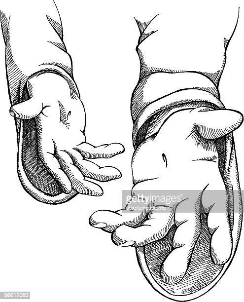 christ's hands ink - jesus stock illustrations, clip art, cartoons, & icons