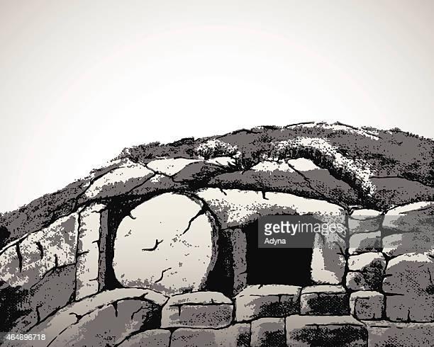 christ's tomb - jesus tomb stock illustrations