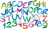 Chromatic watercolor letters and numerals
