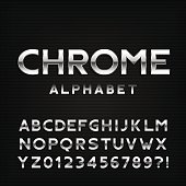 Chrome alphabet font. Metal effect letters and numbers.